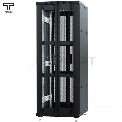 """Шкаф 42U 600x1200х1987мм (ШхГхВ) телекоммуникационный 19"""" напольный, передняя дверь перфорированная распашная 2-х створчатая - задняя дверь перфорированная"""